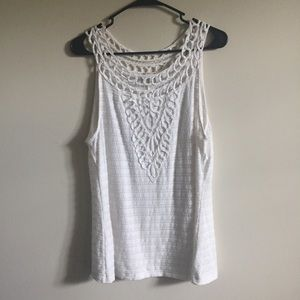 Anthropologie Aicha Embellished Tank Top White L